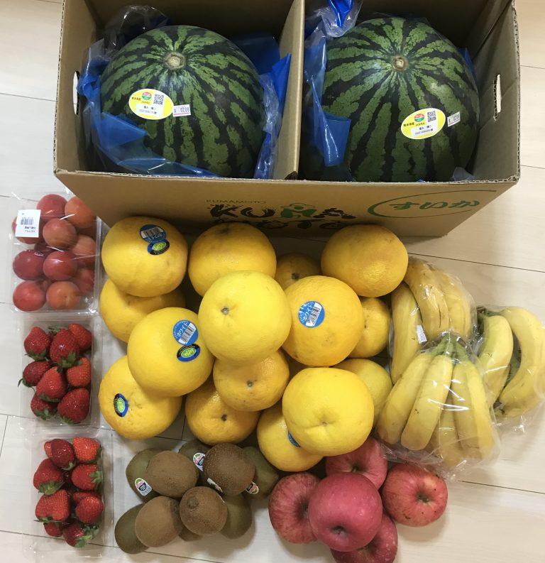 スイカ、グレープフルーツ、いちご、プラム、バナナ、キウイ