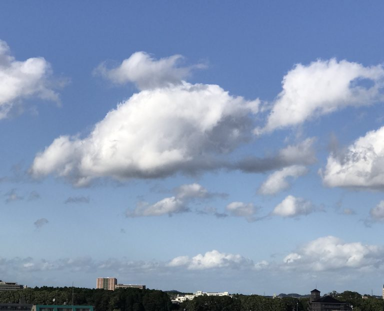 晴れた空に雲